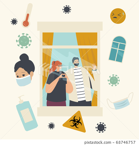 Stay Home during Quarantine and Covid19 Self Isolation Concept. Woman and Man Characters Looking Out through Window 68746757