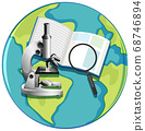 Earth globe icon with microscope cartoon style 68746894