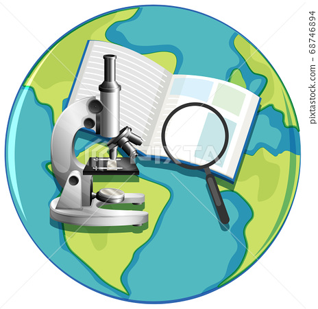 Earth globe icon with microscope cartoon style 68746894