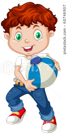 Cute boy holding color ball 68746907