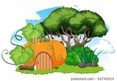 Pumpkin house and some grass cartoon style on 68746924