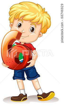 Blonde boy holding math number six 68746929