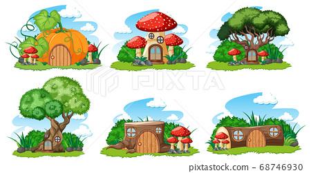 Set of isolated gnome fairy tale houses cartoon 68746930