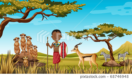 Ethnic people of African tribes in traditional 68746948