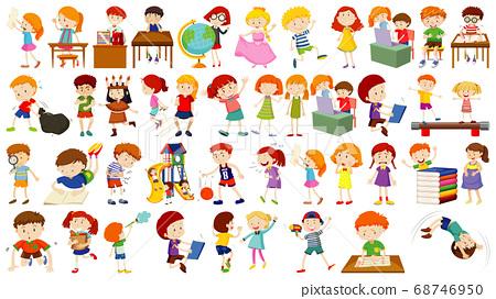 Set of cute kids cartoon character 68746950
