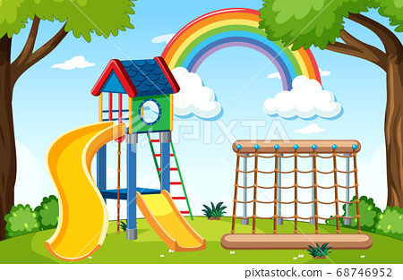 Kids playground in the park with rainbow in the 68746952