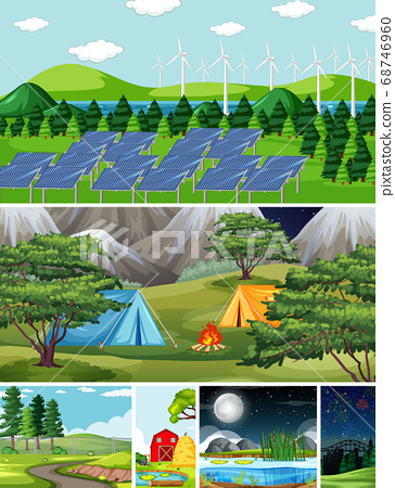 Six different scenes in nature setting cartoon 68746960