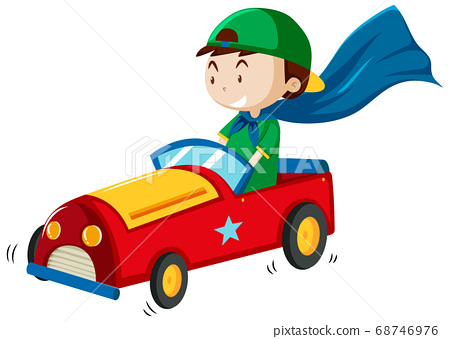 Boy playing with car toy cartoon style isolated on 68746976