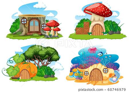 Set of isolated gnome fairy tale houses cartoon 68746979