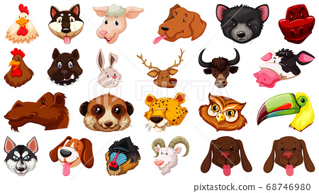Set of different cute cartoon animals head huge 68746980