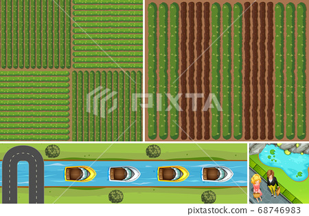 Set of aerial farm and river scene 68746983
