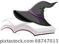 Witch or wizard magic hat on the book isolated on 68747013