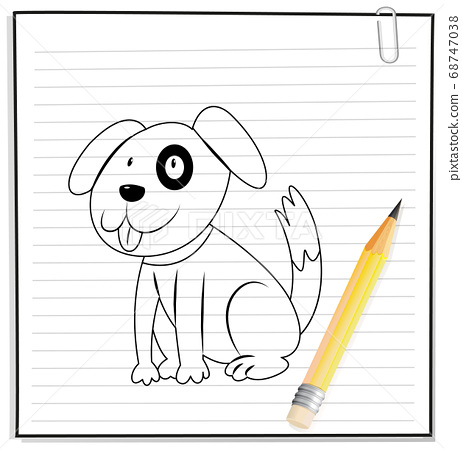 Hand drawing of cute dog outline 68747038