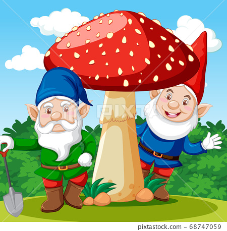 Gnomes standing with mushroom cartoon character on 68747059