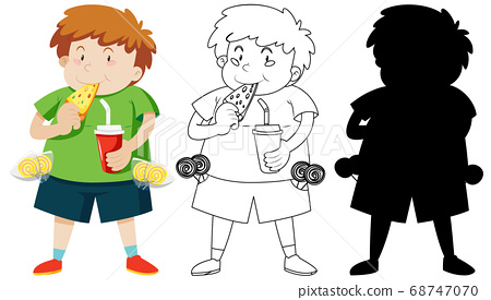 Cute fat boy eating pizza in colour and outline 68747070