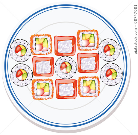Aerial view of food on plate 68747081