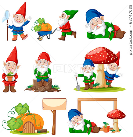 Set of gnome with garden tool isolated on white 68747088