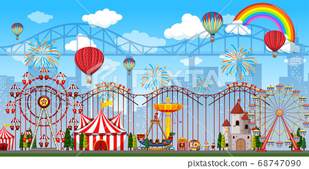 Amusement park scene at daytime with rainbow and 68747090