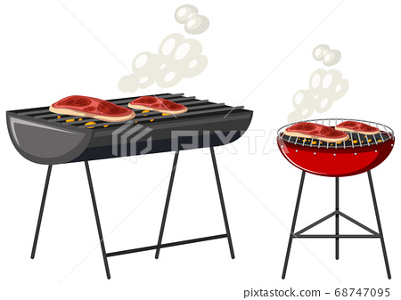 Steaks on gril cartoon character isolated on white 68747095