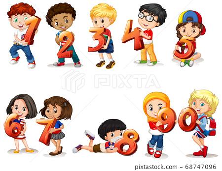 Set of different children holding math number 68747096