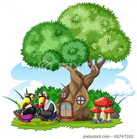 Tree house with three bird cartoon style on white 68747262