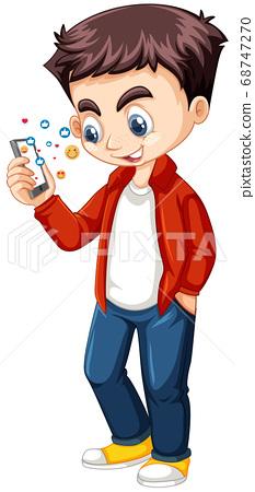 Boy in red shirt using smart phone cartoon 68747270