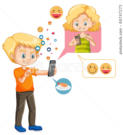 Boy chatting with friend on smartphone with emoji 68747273