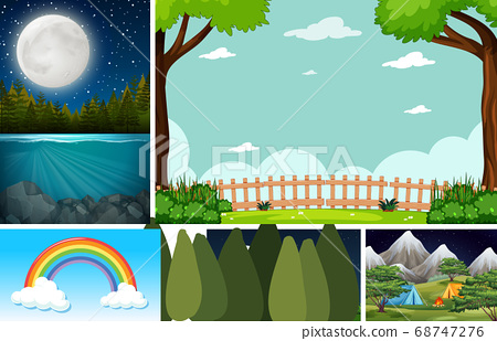 Five nature scenes with different locations 68747276