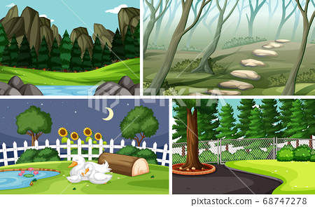 Four different scenes in nature setting cartoon 68747278
