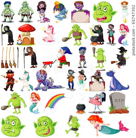 Set of fantasy cartoon characters and fantasy 68747302