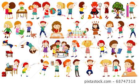 Set of cute kids cartoon character 68747318