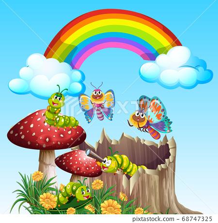 Butterflies and worms living in the garden scene 68747325