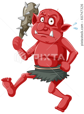 Red goblin or troll holding hunting tool in 68747326