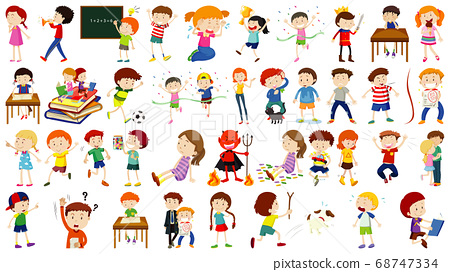 Set of cute kids cartoon character 68747334