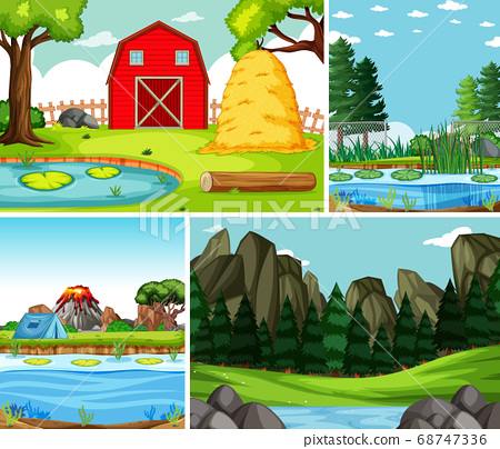 Four different scenes in nature setting cartoon 68747336