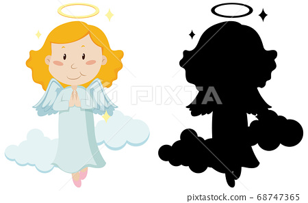 Cute angel with its silhouette 68747365