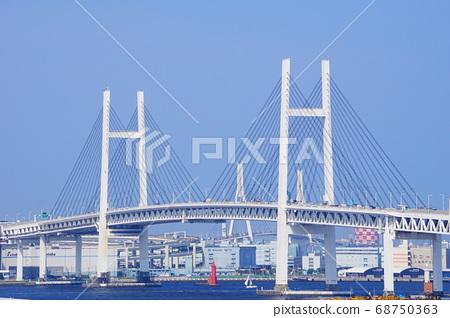 從可以看到港口的山公園看到的橫濱灣大橋 68750363