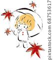 一個女孩與秋天的落葉的插圖 68753617
