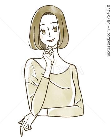 一個女人帶著微笑 68754150
