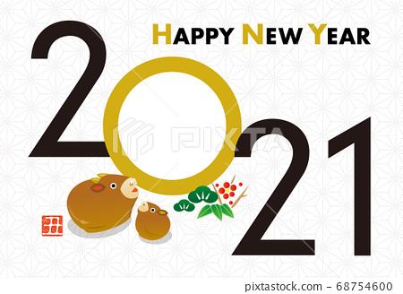 New year's card 2021 ox year photo frame 68754600
