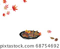 Autumn leaves acorns and chestnut irish background material in a round basket of autumn leaves and bamboo work 68754692