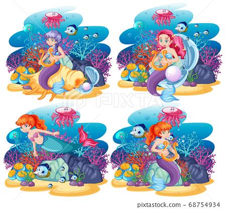 Set of cute mermaid with animal sea theme scene 68754934