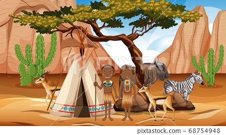 African tribes family in wild nature background 68754948