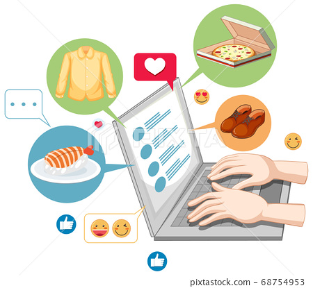 Laptop with social media emoji icon cartoon style 68754953