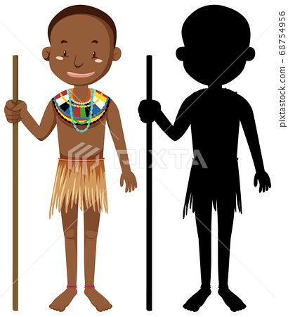 Set of people of African tribes character with its 68754956
