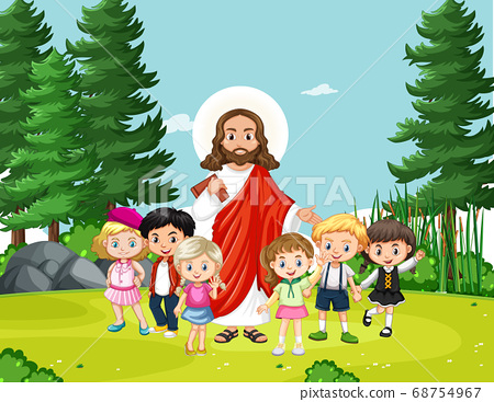 Jesus with children in the park 68754967
