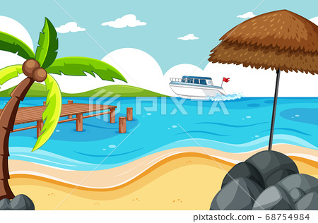 Tropical beach and sand beach scene cartoon style 68754984