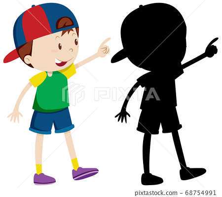 Cute boy wearing cap in colour and silhouette 68754991