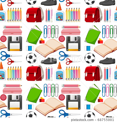 Set of stationary tools and school seamless 68755001