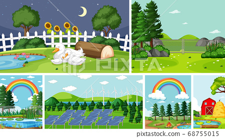 Six nature scenes with different locations 68755015